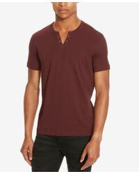 Kenneth Cole Reaction - Red Split V-neck Henley for Men - Lyst