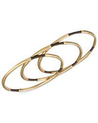 The Sak - Metallic Gold-tone Brown Thread Three-piece Bangle Bracelet Set - Lyst