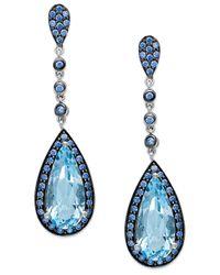 Macy's | Sterling Silver Blue Topaz (5 Ct. T.w.) And Blue Swarovski Zirconia (1-1/5 Ct. T.w.) Drop Earrings | Lyst