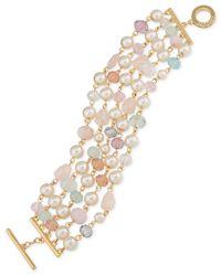 Carolee - Metallic Gold-tone Imitation Pearl And Beaded Toggle Bracelet - Lyst