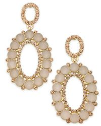 INC International Concepts - Metallic Gold-tone Pink Stone & Pavé Oval Drop Earrings - Lyst