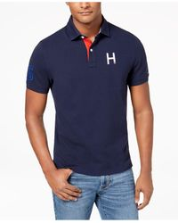 Tommy Hilfiger Blue Big & Tall Flanders H Logo Custom Fit Polo, Created For Macy's for men