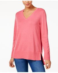 Style & Co. Pink High-low V-neck Sweater