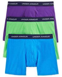 Under Armour | Black Men's Cotton Stretch 6-inch Boxerjocks 3-pack for Men | Lyst