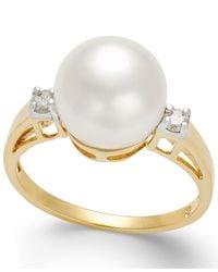 Macy's | Metallic Cultured Freshwater Pearl (10mm) And Diamond (1/8 Ct. T.w.) Ring In 14k Gold | Lyst