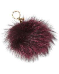 Michael Kors - Multicolor Large Fur Pom Pom Key Charm - Lyst