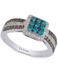 Le Vian | Exotics Blue, Chocolate And White Diamond Ring (5/8 Ct. T.w.) In 14k White Gold | Lyst