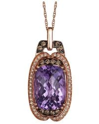 Le Vian | Multicolor Amethyst (5-3/4 Ct. T.w.), White (1/8 Ct. T.w.) And Chocolate (1/6 Ct. T.w.) Diamond Pendant Necklace In 14k Rose Gold | Lyst