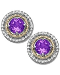 Macy's   Purple Amethyst (9/10 Ct. T.w.) And Diamond (1/8 Ct. T.w.) Stud Earrings In 14k Gold And Sterling Silver   Lyst