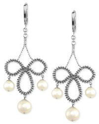Effy Collection | Metallic Pearl Lace By Effy Cultured Freshwater Pearl Chandelier Earrings In Sterling Silver (6-1/2mm) | Lyst