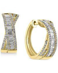 Effy Collection | Metallic D'oro By Effy Diamond Crisscross Hoop Earrings (1 Ct. T.w.) In 14k Gold | Lyst