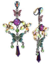 Betsey Johnson - Multicolor Hematite-tone Crystal Butterfly Chandelier Earrings - Lyst