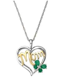 "Macy's | Metallic Emerald (3/8 Ct. T.w.) And Diamond Accent ""mom"" Pendant Necklace In 14k Gold And Sterling Silver 