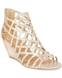Material Girl - Metallic Henie Caged Demi Wedge Sandals - Lyst