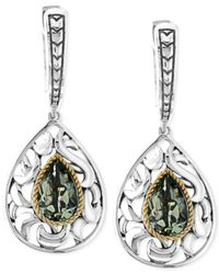Effy Collection | Pink Green Amethyst Pear Drop Earrings In Sterling Silver And 18k Gold (2-1/3 Ct. T.w.) | Lyst