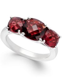 Macy's - Red Garnet Three-stone Ring In Sterling Silver (4 Ct. T.w.) - Lyst