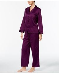 Miss Elaine Purple Brushed Satin Pajama Set