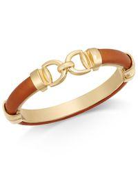 Charter Club - Brown Gold-tone Faux Leather Interlock Bracelet - Lyst