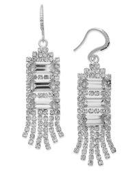 Charter Club | Metallic Silver-tone Crystal Multi-chain Drop Earrings | Lyst