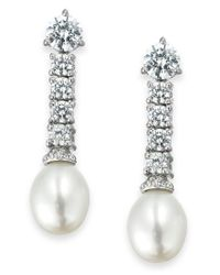 Arabella | White Bridal Cultured Freshwater Pearl (8mm) And Swarovski Zirconia (3-5/8 Ct. T.w.) Drop Earrings In Sterling Silver | Lyst