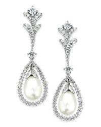 Arabella | Metallic Cultured Freshwater Pearl (7mm) And Swarovski Zirconia (2 Ct. T.w.) Drop Earrings In Sterling Silver | Lyst