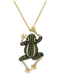 Effy Collection | White Diamond (1/8 Ct. T.w.) And Green Amethyst (3/4 Ct. T.w.) Frog Pendant Necklace In 14k Gold | Lyst