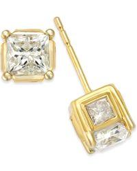 Macy's - Metallic Diamond (1/2 Ct. T.w.) Spiral Bezel Stud Earrings In 14k Yellow Or White Gold - Lyst