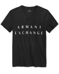 Armani Exchange Black Men's V-neck Graphic-print Cotton T-shirt for men