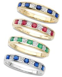 Macy's - Green 10k White Gold Sapphire & Diamond Stackable Ring - Lyst