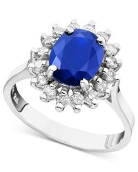 Effy Collection | Blue Sapphire (2 Ct. T.w.) And Diamond (1/2 Ct. T.w.) Oval Ring In 14k White Gold | Lyst
