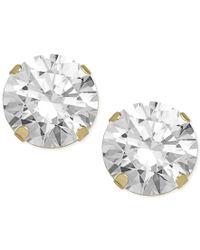 Macy's   Metallic Swarovski Zirconia Round Stud Earrings In 14k Gold (5-5/8 Ct. T.w.)   Lyst