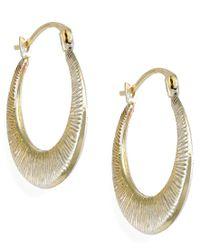 Macy's | Metallic Ribbed Hoop Earrings In 10k Gold, 15mm | Lyst