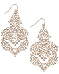 INC International Concepts | Metallic Gold-tone Crystal Lace Chandelier Earrings | Lyst