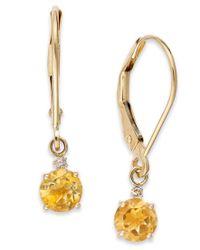 Macy's | Metallic Citrine Leverback Earrings In 14k Gold (3/4 Ct. T.w.) | Lyst