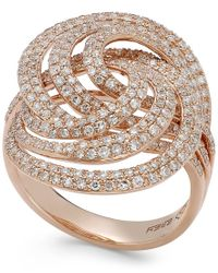 Effy Collection - Metallic Pave Rose By Effy Diamond Spiral Ring In 14k Rose Gold (1-1/4 Ct. T.w.) - Lyst