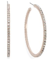 INC International Concepts Multicolor Rose Gold-tone Crystal Pave Hoop Earrings