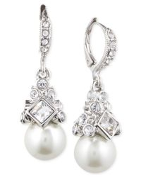 Givenchy | Multicolor Imitation Rhodium Crystal And Imitation Pearl Small Drop Earring | Lyst