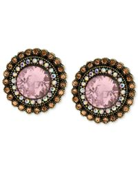 Betsey Johnson | Multicolor Gold-tone Crystal Gem Button Stud Earrings | Lyst