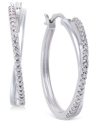 Macy's | Metallic Diamond Crossover Hoop Earrings (1/10 Ct. T.w) In Sterling Silver | Lyst