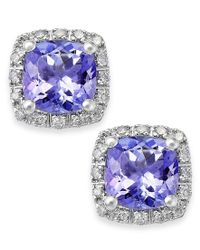 Macy's   Metallic Tanzanite (1-5/8 Ct. T.w.) And Diamond (1/8 Ct. T.w.) Square Stud Earrings In 14k White Gold   Lyst