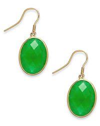 Macy's Green Dyed Jade Oval Drop Earrings In 14k Gold (16mm)