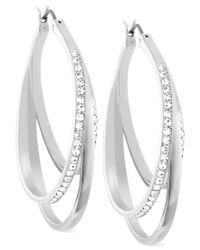 Swarovski | Metallic Spiral Crystal Pave Hoop Earrings | Lyst