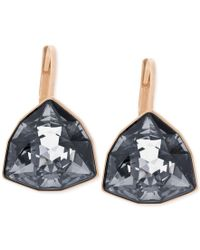 Swarovski | Blue Rose Gold-tone Trillion-cut Leverback Earrings | Lyst