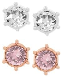 Swarovski - Multicolor Botanic Rhodium-plated And Rose Gold-plated Pierced Earring Set - Lyst