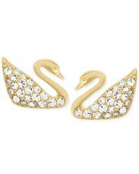 Swarovski | Metallic Gold-tone Crystal Pave Swan Stud Earrings | Lyst