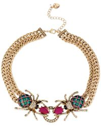 Betsey Johnson - Metallic Gold-tone Spider Frontal Necklace - Lyst
