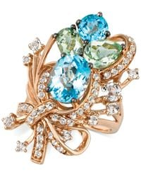 Le Vian - Blue Topaz, White Topaz And Green Quartz Cluster Ring In 14k Rose Gold (7 Ct. T.w.) - Lyst
