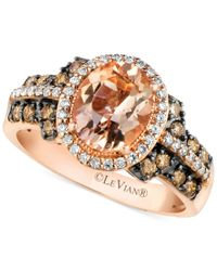 Le Vian | Multicolor Peach Morganite (1-3/8 Ct. T.w.) And Diamond (1/2 Ct. T.w.) Ring In 14k Rose Gold, Only At Macy's | Lyst