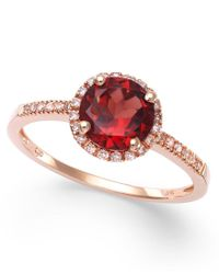 Macy's | Multicolor Garnet (1-3/8 Ct. T.w.) And Diamond (1/8 Ct. T.w.) Ring In 14k Rose Gold | Lyst