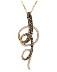 Le Vian | Brown Chocolate And White Diamond Swirl Pendant Necklace In 14k Yellow Gold (3/4 Ct. T.w.) | Lyst